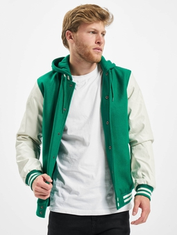 Urban Classics Hooded Oldschool College Jacket Green/White