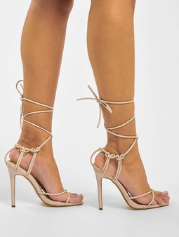 Missguided Super Strappy Square Toe Barley Sandals Nude
