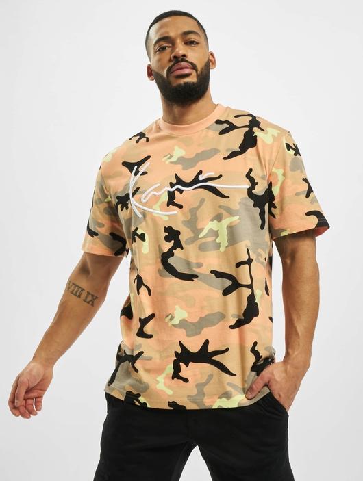 Karl Kani Signature Camo T-Shirt Camel/Black/Coral/Yellow image number 0