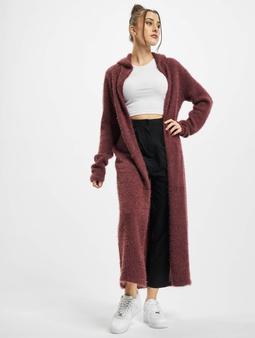 Urban Classics Ladies Hooded Feather Cardigan Cherry