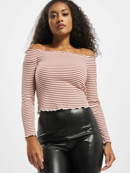 Pieces pcAlicia Off-Shoulder Top Bright White/Stripes: