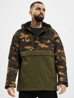 Urban Classics Camo Mix Pull Over Jacket Black/Snow