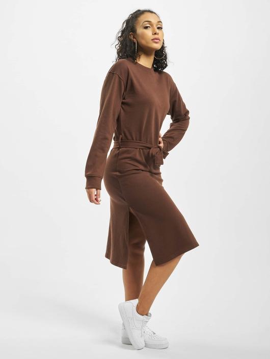 Missguided Tie Belt Midi Sweater Dress Chocolate image number 3