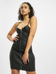Missguided Coated Zip Through Denim Cami Dress Black image number 0