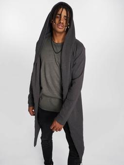 Urban Classics Long Hooded Open Edge Cardigans grå