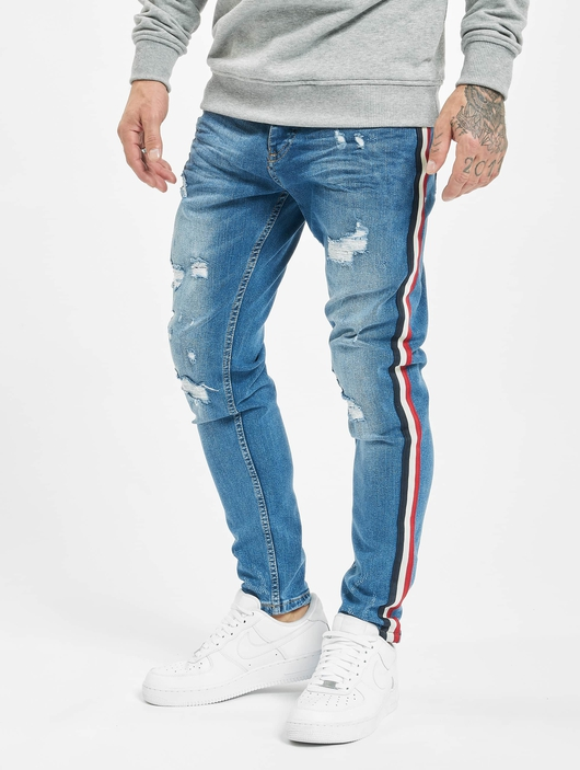 VSCT Clubwear Keanu Multi Colour Stripe Slim Fit Jeans Midblue image number 2