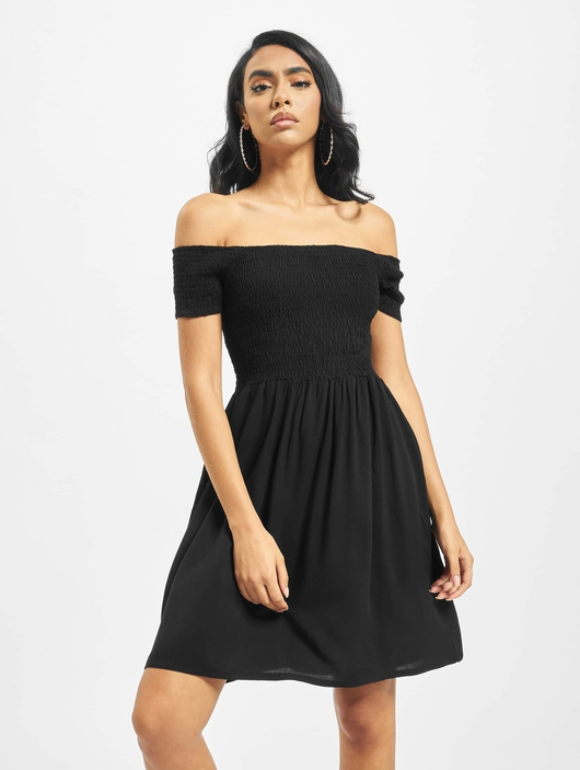 Urban Classics Smoked Off Shoulder Dress Black image number 2