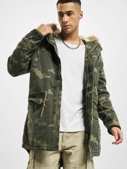 Urban Classics Garment Washed Camo Parka Wood Camouflage