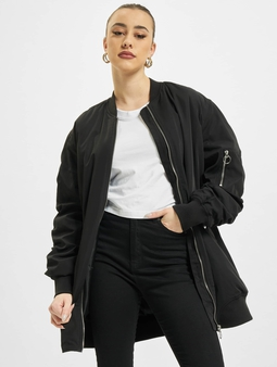 Only onlJenny Long Bomber Jacket Black